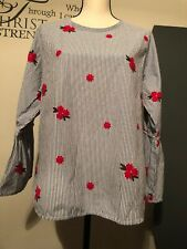 blouse top long sleeves stripes and floral embroidery