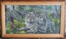 "ORIGNAL OIL PAINTING PICTURE ""THE WOLF FAMILY""   75x45cm SINGLE COPY"