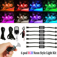 6 Pods Motorcycle ATV RGB LED Neon Under Glow Light Strip Kit Atmosphere Lights