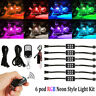 6 Pods Motorcycle RGB LED Neon Light Strip Kit Atmosphere For Kawasaki Suzuki