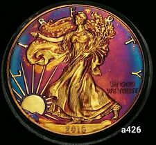 2016 Rainbow Toned Silver American Eagle 1 ounce fine silver coin uncirc #a426
