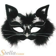 Black Transparent Cat Mask On Headband Maquerade Ball Fancy Dress Accessory