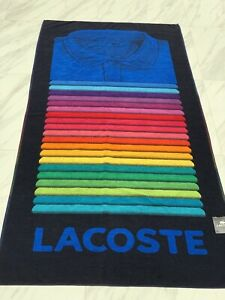 "New Lacoste Cotton Stripe Beach Towel   36"" X 72"" Blue Shirt $55"