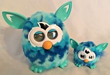 "Plush Teal Blue Tiger Hasbro Lighted Moving Talking 6"" Furby & Baby - 2 Pieces"