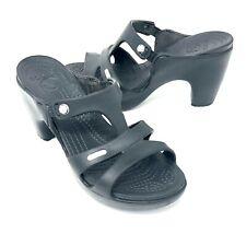 Crocs Womens Cyprus V Heels Sandals Size 8 Black