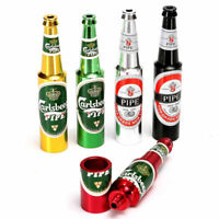 *Beer Bottle Pipe Smoking Tobacco Herb Metal Aluminum Portable Small Pocket Size