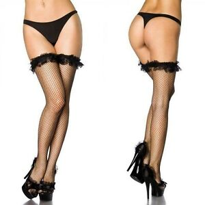 Sexy Womens Black Fishnet Stockings Hold Ups Stay Ups with Lace Frill Top XS-L