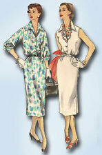 1950s Vintage Simplicity Sewing Pattern 1114 Misses Simple Day Dress Size 16 34B