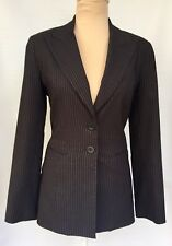 REVIEW Suit Jacket Coat Brown & Silver Pinstripe Work Career Women's Size 8