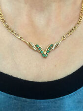 EMERALD NECKLACE&DIAMOND CHEVRON CHAIN LINK NECKLACE 14 KT YELLOW GOLD