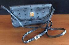 MCM Monogrammed Black Clutch Designer Handbag Handmade West Germany Brass Plate