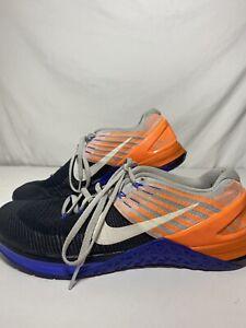 Nike Men's Metcon DSX Flyknit 852930-006 Training Shoes Size 9.5 Orange Blue