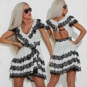 By Alina Mexton Damen Minikleid Longshirt Sommerkleid Partykleid Spitze Punkte