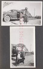 Vintage Photos Family w/ 1941 Chevrolet Car on 1940 GMC Truck 674740