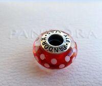 NEW Authentic DISNEY PANDORA Exclusive Red Minnie Polka Dot Silver Charm
