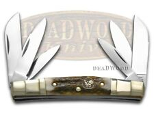 HEN & ROOSTER AND Genuine Deer Stag 6-Blade Congress Stainless Pocket Knife