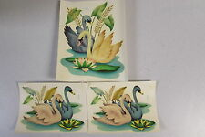 Vintage Meyercord Swan Pair 932 Transfer Water Decals Co Chicago Nos Free Ship