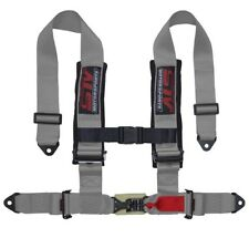 "STV Motorsports Safety Seat Belt Harness Gray 4 Point 2"" Thick Padded Straps"