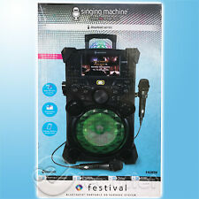 New Singing Machine Festival Portable Karaoke Speaker System 2 Mics & Lcd Screen