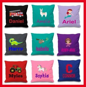 Personalised Children's Kids Printed Cushion Cover x1 + Insert 41cm Many Designs