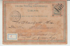 Liberia # X1 1882 Postal Card USED to Gravenhauge Netherlands