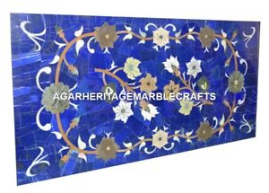 Marble Dining Coffee Table Top Lapis Lazuli Mosaic Inlaid Occasional Decor H2040