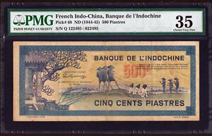 French Indochina 500 Piastres 1944-1945 P-68 VF PMG