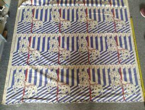 Hodsall McKenzie CAROUSEL Fairground Screen Print Curtain Fabric VTG 1.42m x 1m