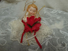 Gorham Christmas ornament Angel Ivory Lace Dress feathers porcelain face 1985