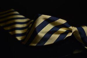 NWT Brooks Brothers Made NY Pale Brass Blue Repp Block Stripe Twill Silk Tie #2