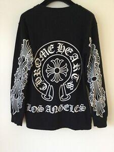 "AUTHENTIC CHROME HEARTS HORSESHOE ""LOS ANGELES"" LONG SLEEVE TEE T-SHIRT M BLACK"
