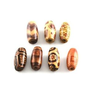 Beige/Mixed Wood Beads Flat Oval 7x15mm Pack Of 150+