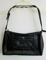 Etienne Aigner Vintage Satchel Shoulder Black Leather Compartments Handbag