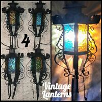 Vintage 1960s Spanish Revival Lantern Sconce Light Fixtures, Colored Glass Metal
