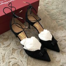 $625 New Salvatore Ferragamo Womens Black Shoes Ladies Heels Size 6.5 C US 37 EU