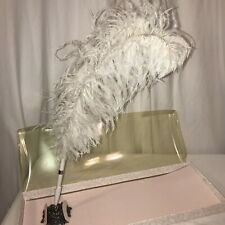 nos Wedding White Plume Feather Quill Guest Book fancy victorian Signing Pen