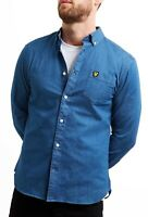 Lyle & Scott Long Sleeve Denim Shirt Mens Jean Shirts Slim Fit Light Indigo Blue