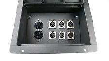 Recessed Stage Audio Floor Box with 6 XLR Mic Female Connectors + AC Outlet