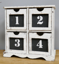 WHITE RUSTIC STYLE WOOD 4 NUMBERED DRAWERS SPICE BITS & BOBS STORAGE CABINET