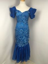 Vtg 80s gown floral lace PUFF SLEEVE Evening Handmade mermaid prom dress Sz S