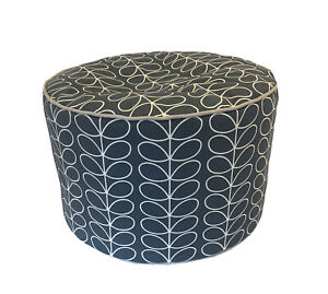 BEANBAG FOOTSTOOL POUFFE MADE IN ORLA KIELY LINEAR STEM COOL GREY FABRIC
