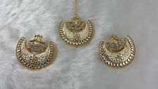 Gold Plated Handmade Meena Work Exclusive Kundan Big Earrings & Tikka