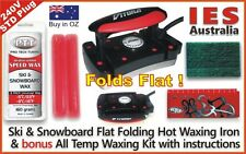 Ski-Snowboard Vitora Flat Folding Hot Waxing Iron & Red Universal Wax Kit+Guide