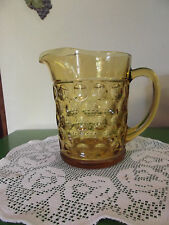 Beautiful Vintage Golden Amber Glass  Water Pitcher HEAVY! Thumbprint Indent Dot