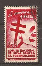 1945 ERINNOFILO USATO PER LA LOTTA CONTRO LA TUBERCOLOSI IN LINGUA SPAGNOLA