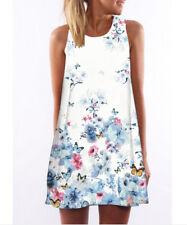 Womens Summer Boho Floral Beach Printed Sleeveless Short Mini Party Tea Dress #2 3xl
