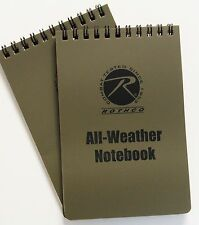 "2 Pack All-Weather Coyote Brown PVC Waterproof 4""x6"" Rothco Tactical Notebook"
