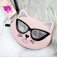 Betsey Johnson Kitty Wristlet Glitter Pink Cat Bag Luv Betsey Purse Wallet Cute
