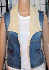 NWT SUGAR MAGNOLIA Junior Women's Sz 1 Fleece Trimmed Distressed Open Jean Vest