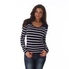 Nuevo Jersey De Punto Fino Mujer jersey Rayas rayado Cuello Pico!C428